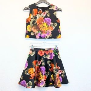 Pippa & Julie Floral Top and Skirt Set Girl's 12